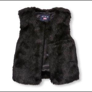 Girls Faux Fur Fashion Outerwear Vest Black